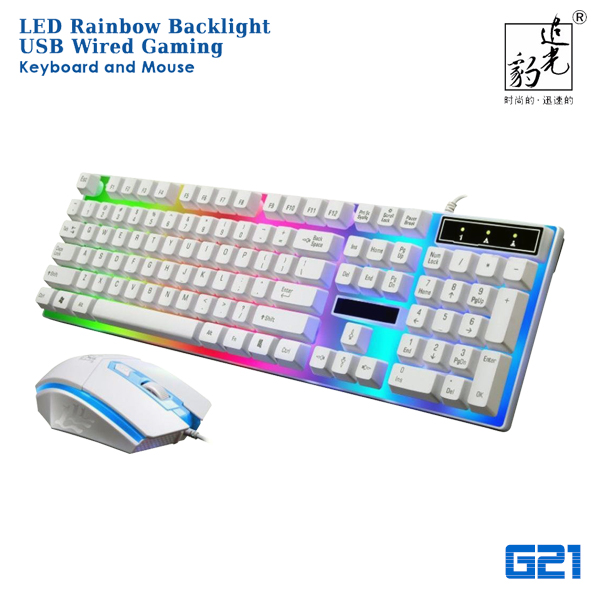 g21 led rainbow backlight usb wired gaming keyboard and mouse viia. Black Bedroom Furniture Sets. Home Design Ideas